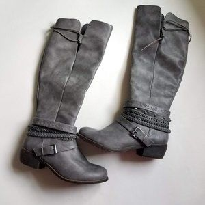 SO   Gray Tall Belted Embellished Boots 7.5